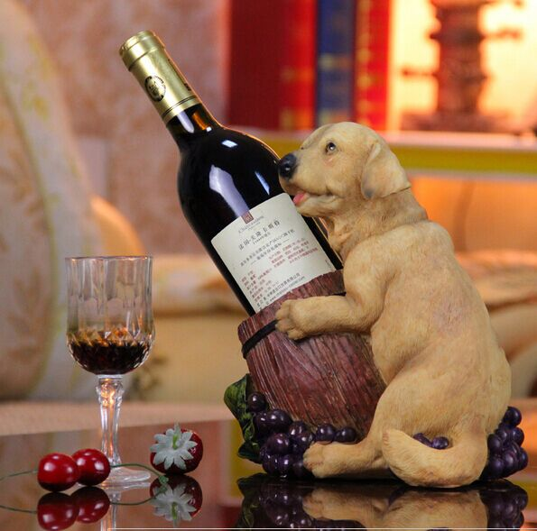 The puppy wine holder