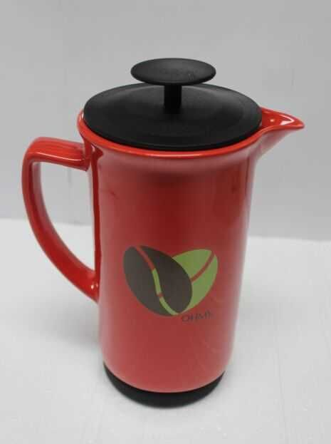 red coffee press with print